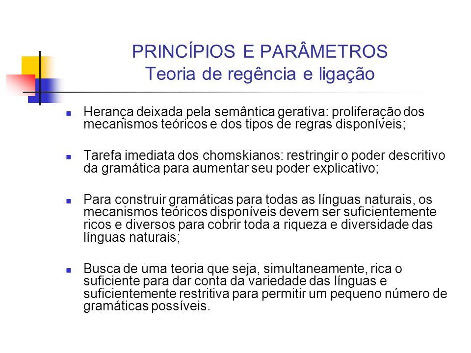 PRINCÍPIOS E PARÂMETROS Teoria de regência e ligação