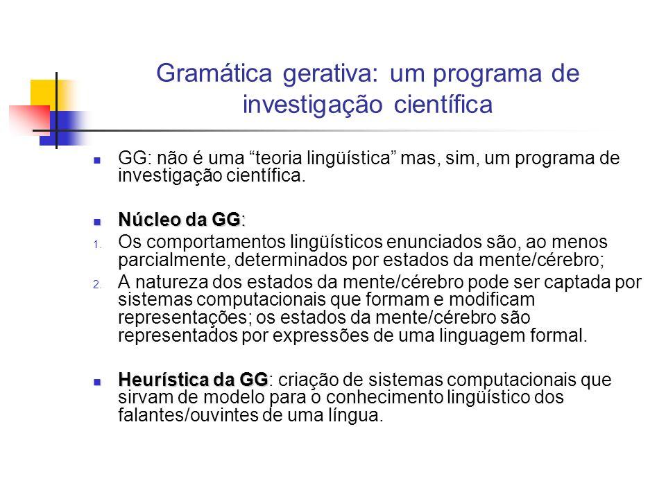 Gramática gerativa: um programa de investigação científica