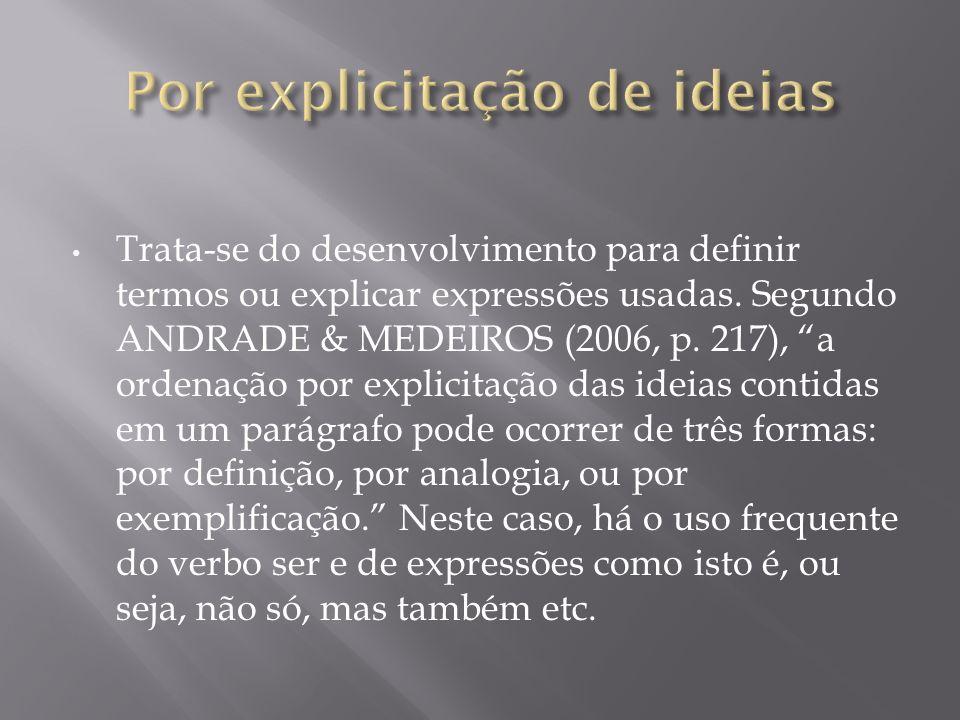 Por explicitação de ideias