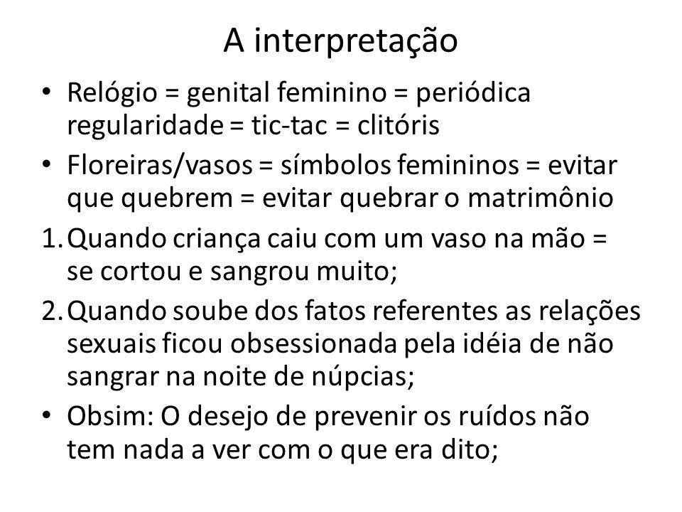 A interpretação Relógio = genital feminino = periódica regularidade = tic-tac = clitóris.