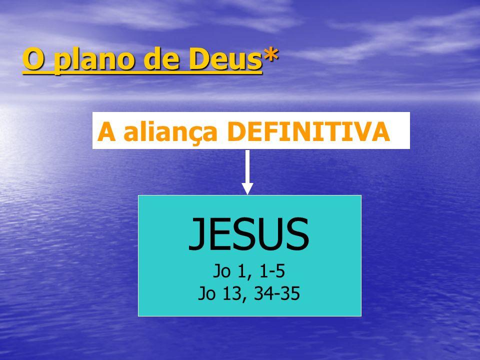 O plano de Deus* A aliança DEFINITIVA JESUS Jo 1, 1-5 Jo 13, 34-35