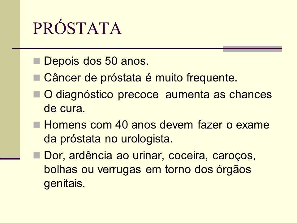 PRÓSTATA Depois dos 50 anos. Câncer de próstata é muito frequente.