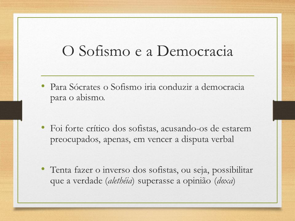 O Sofismo e a Democracia