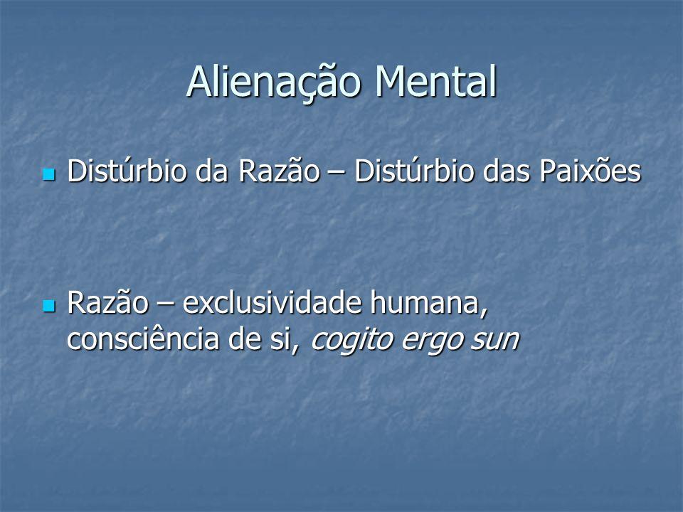 Alienação Mental Distúrbio da Razão – Distúrbio das Paixões