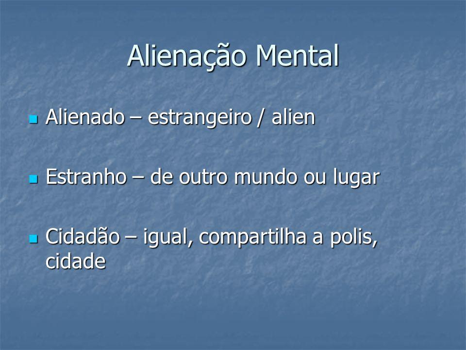 Alienação Mental Alienado – estrangeiro / alien