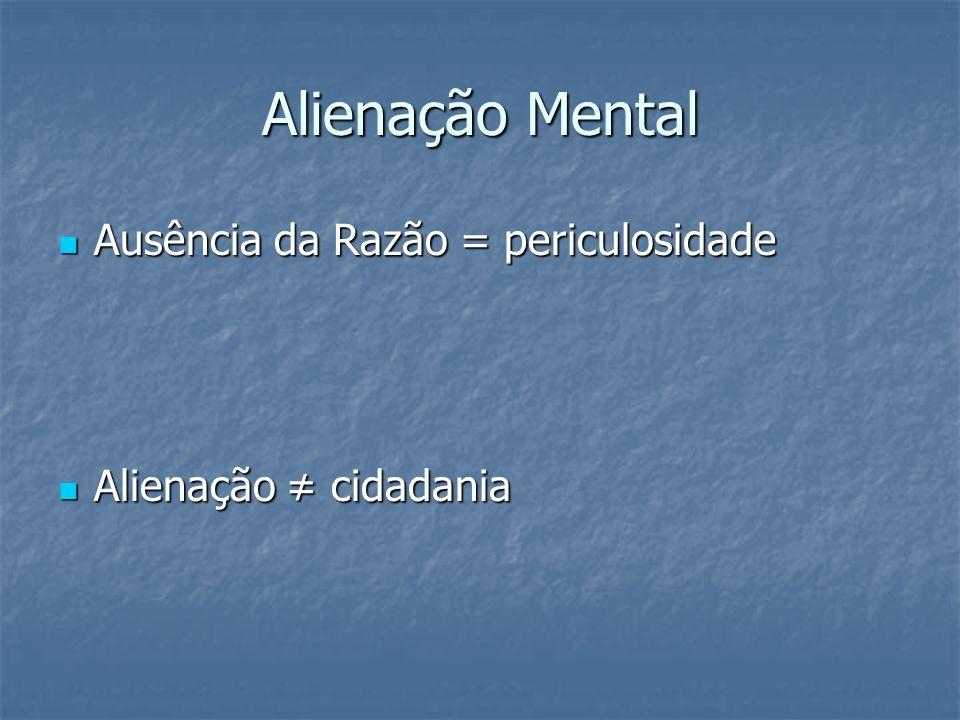 Alienação Mental Ausência da Razão = periculosidade