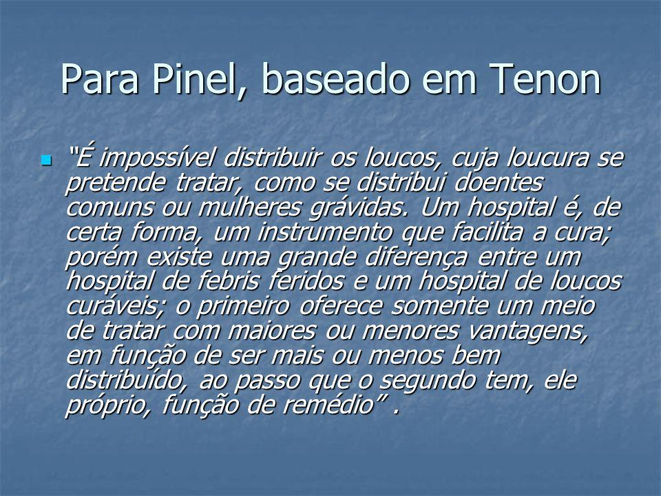 Para Pinel, baseado em Tenon