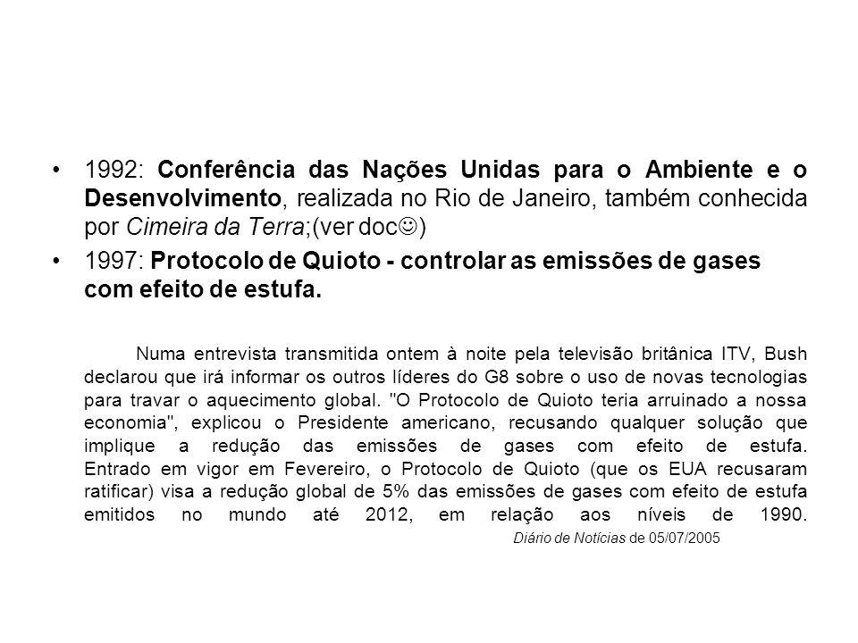1992: Conferência das Nações Unidas para o Ambiente e o Desenvolvimento, realizada no Rio de Janeiro, também conhecida por Cimeira da Terra;(ver doc)