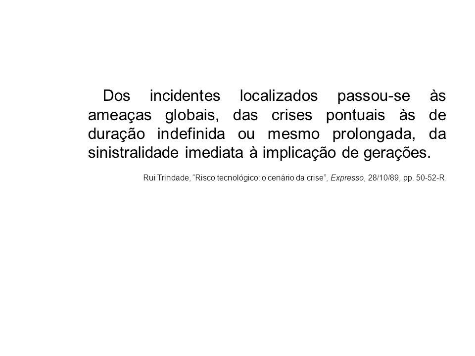 Dos incidentes localizados passou-se às ameaças globais, das crises pontuais às de duração indefinida ou mesmo prolongada, da sinistralidade imediata à implicação de gerações.