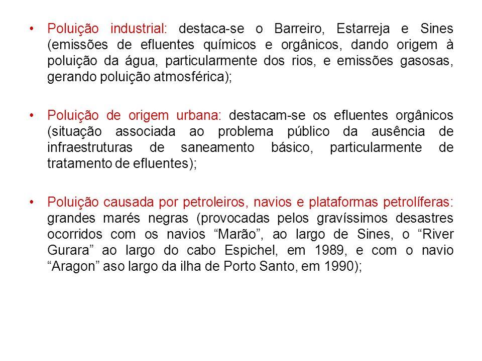 Poluição industrial: destaca-se o Barreiro, Estarreja e Sines (emissões de efluentes químicos e orgânicos, dando origem à poluição da água, particularmente dos rios, e emissões gasosas, gerando poluição atmosférica);