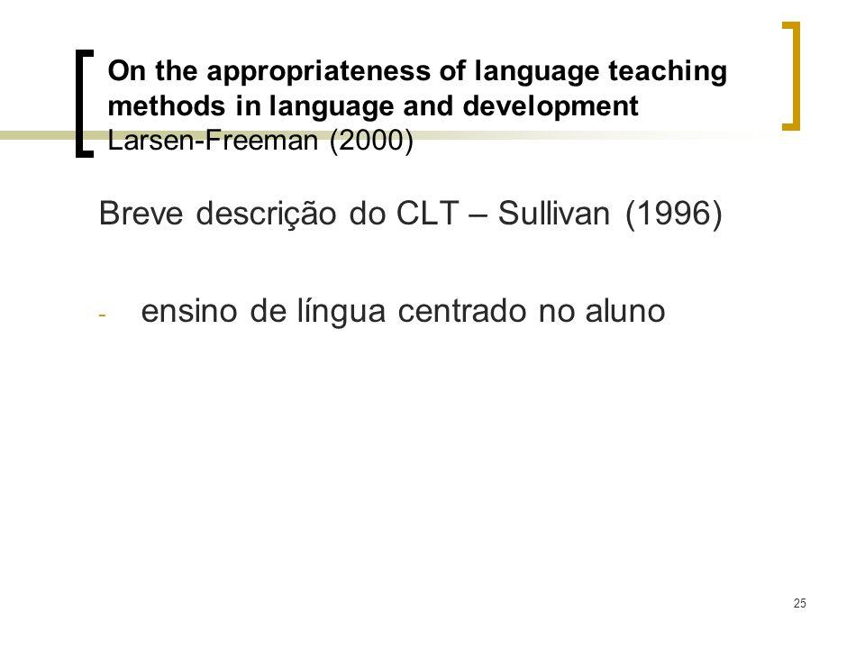Breve descrição do CLT – Sullivan (1996)