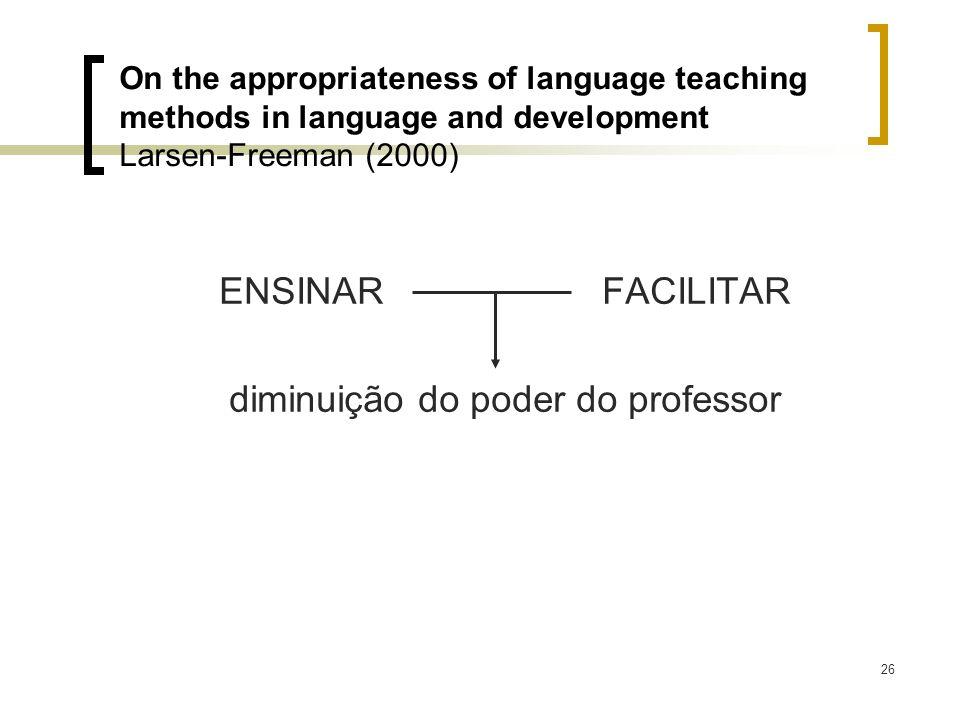 diminuição do poder do professor