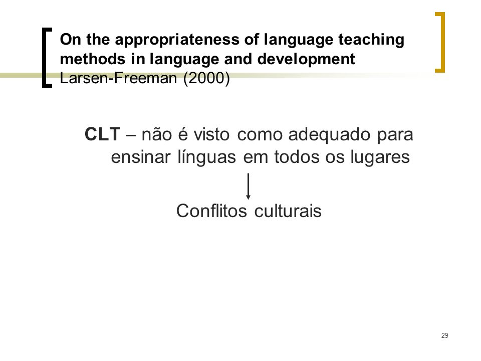 On the appropriateness of language teaching methods in language and development Larsen-Freeman (2000)
