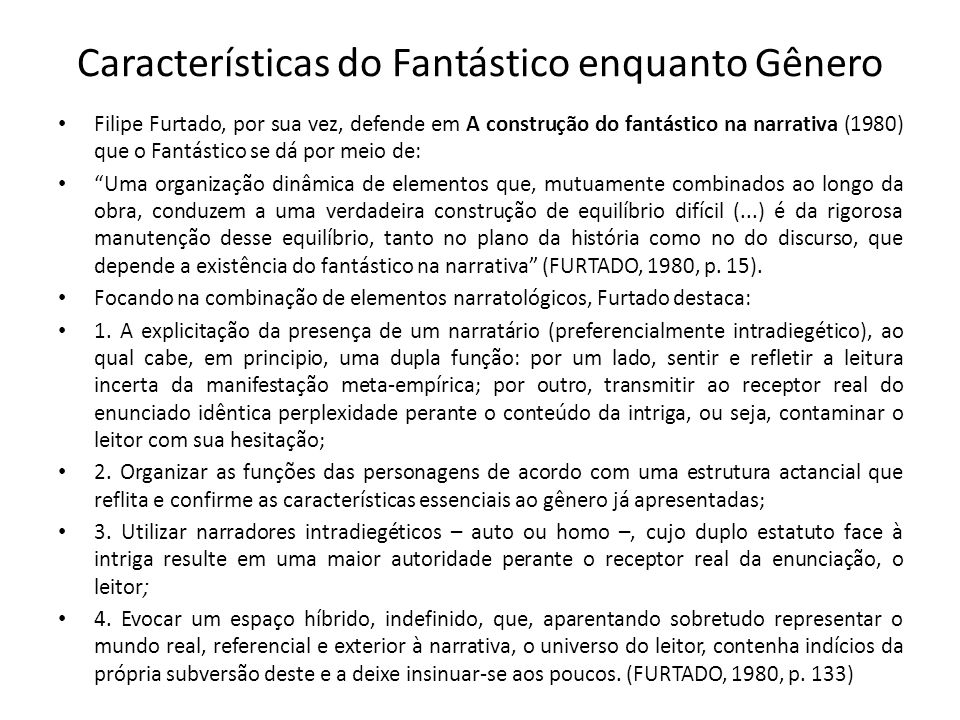 Características do Fantástico enquanto Gênero
