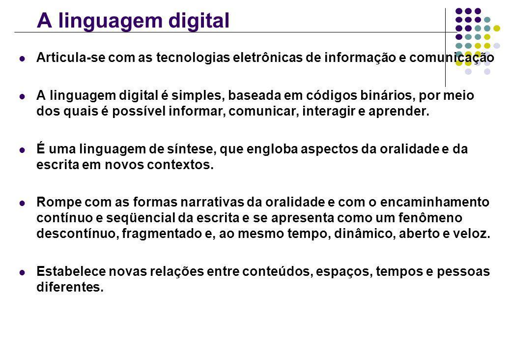 A linguagem digital Articula-se com as tecnologias eletrônicas de informação e comunicação.