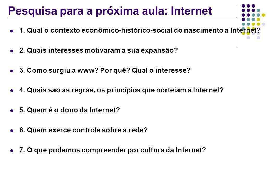 Pesquisa para a próxima aula: Internet