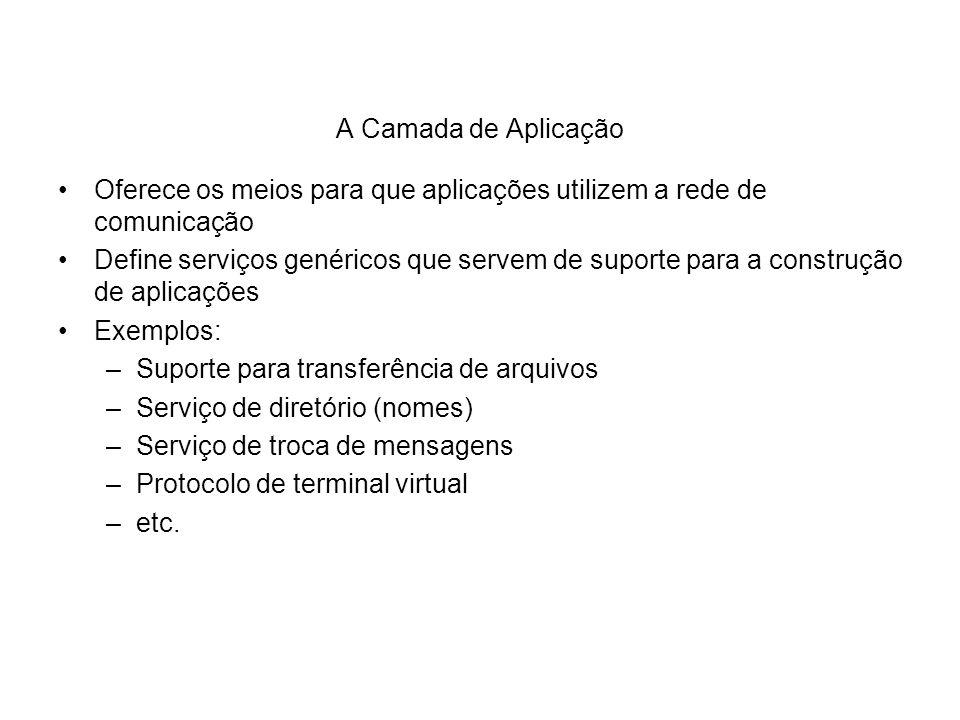 A Camada de Aplicação Oferece os meios para que aplicações utilizem a rede de comunicação.