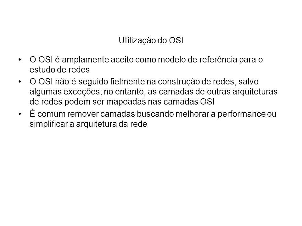 Utilização do OSI O OSI é amplamente aceito como modelo de referência para o estudo de redes.