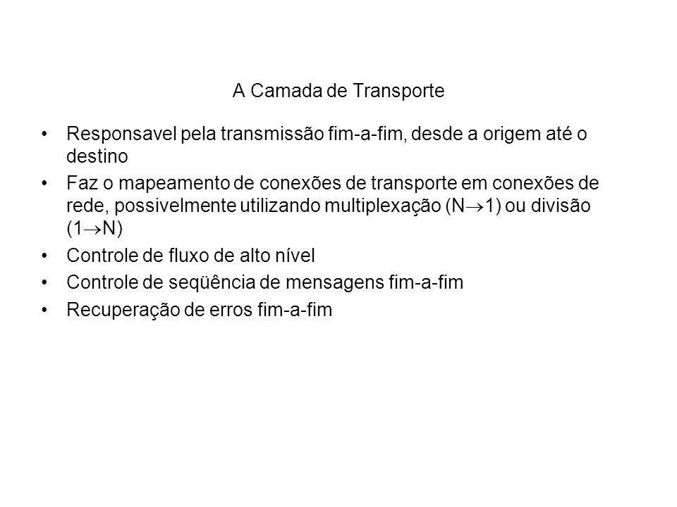 A Camada de TransporteResponsavel pela transmissão fim-a-fim, desde a origem até o destino.