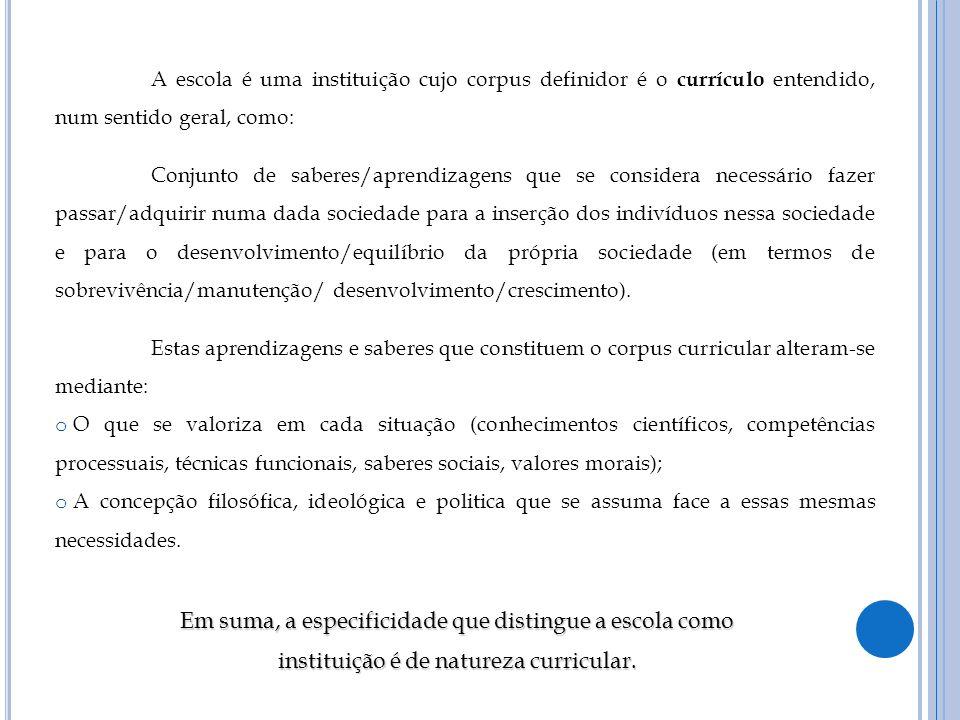A escola é uma instituição cujo corpus definidor é o currículo entendido, num sentido geral, como: