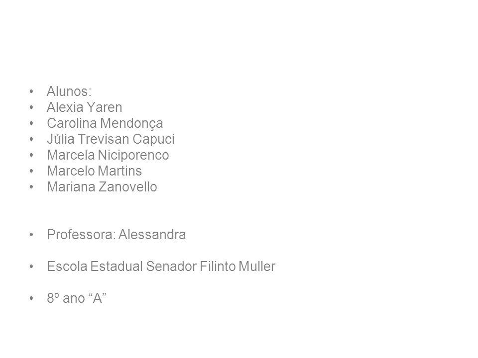 Alunos:Alexia Yaren. Carolina Mendonça. Júlia Trevisan Capuci. Marcela Niciporenco. Marcelo Martins.