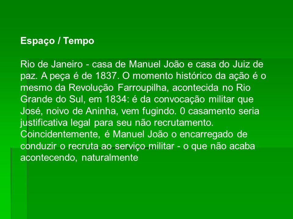 Espaço / Tempo Rio de Janeiro - casa de Manuel João e casa do Juiz de paz.