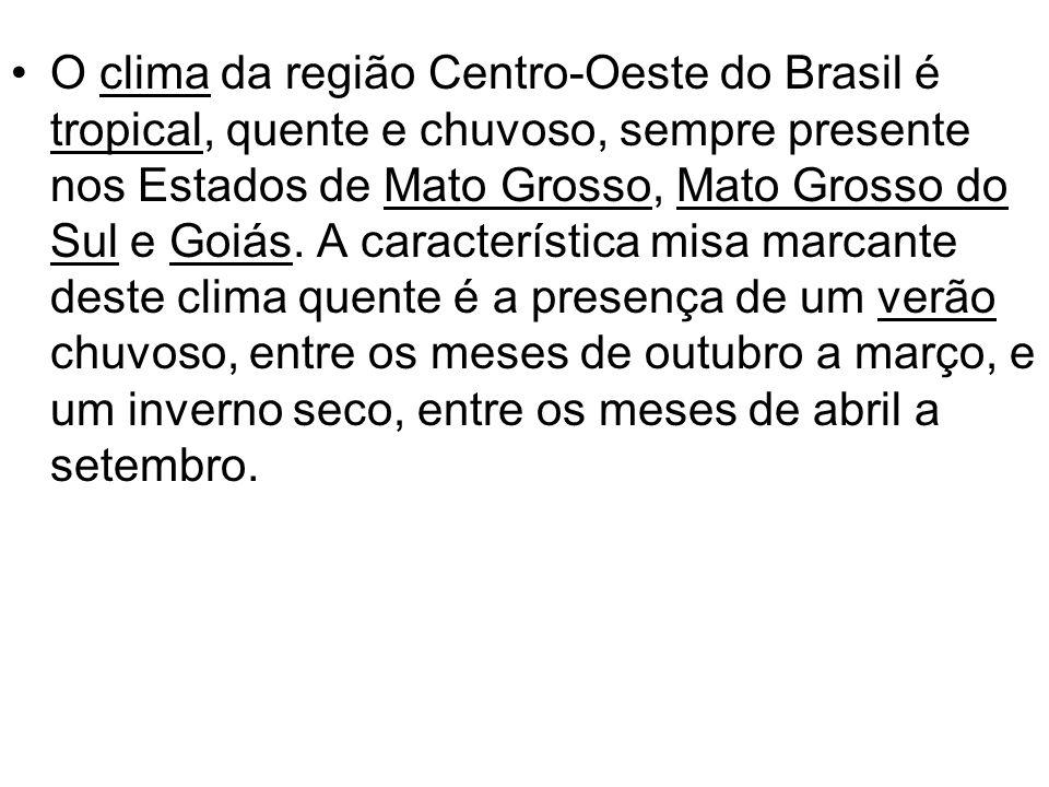 O clima da região Centro-Oeste do Brasil é tropical, quente e chuvoso, sempre presente nos Estados de Mato Grosso, Mato Grosso do Sul e Goiás.