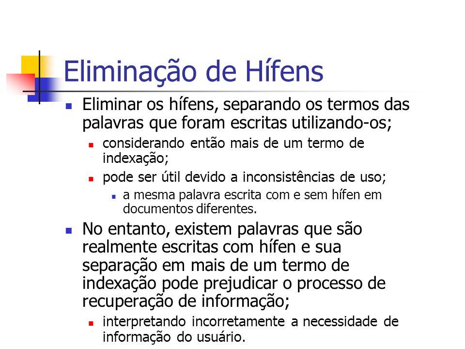 Eliminação de Hífens Eliminar os hífens, separando os termos das palavras que foram escritas utilizando-os;