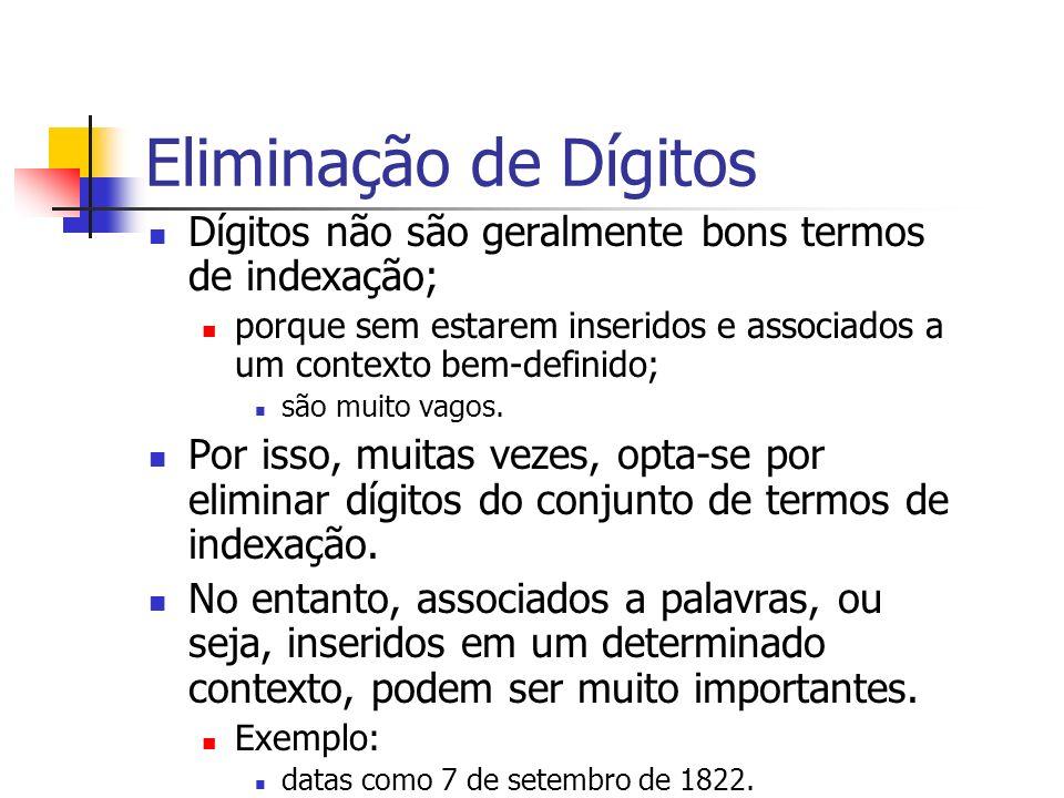 Eliminação de Dígitos Dígitos não são geralmente bons termos de indexação; porque sem estarem inseridos e associados a um contexto bem-definido;