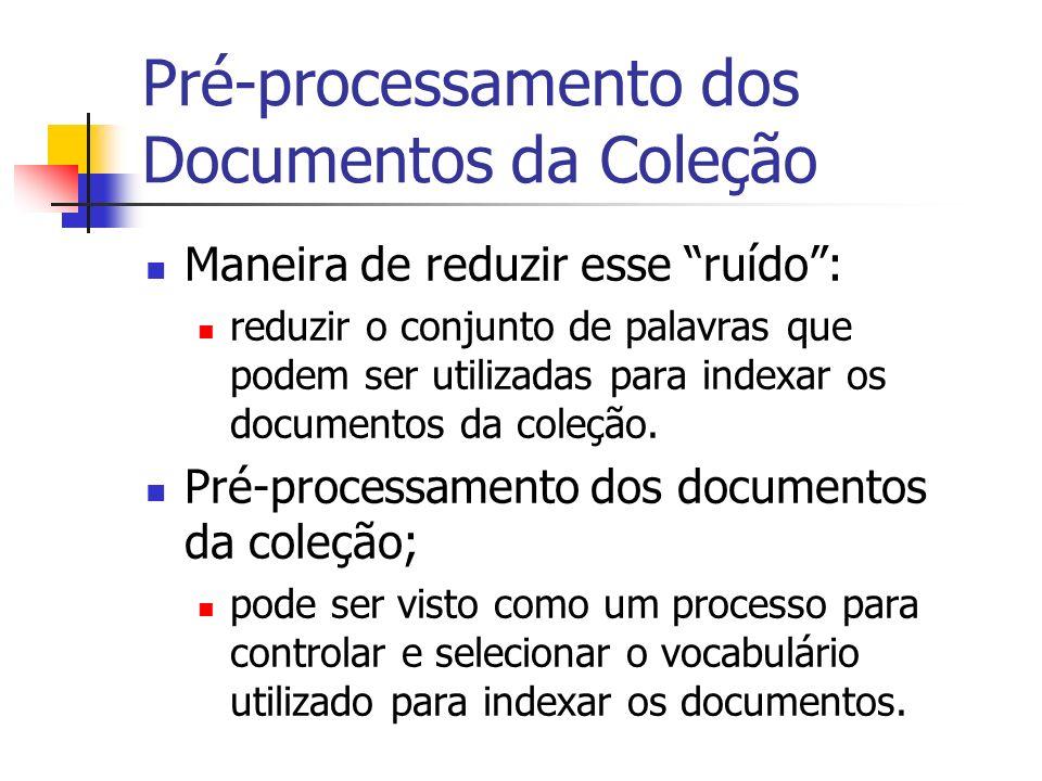 Pré-processamento dos Documentos da Coleção