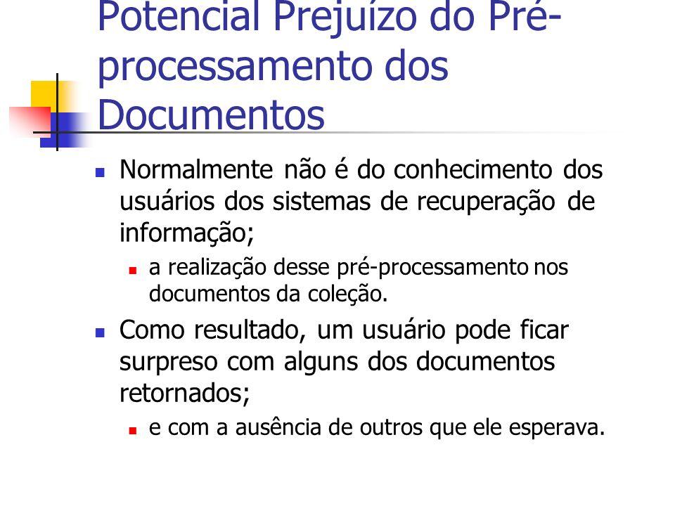 Potencial Prejuízo do Pré-processamento dos Documentos