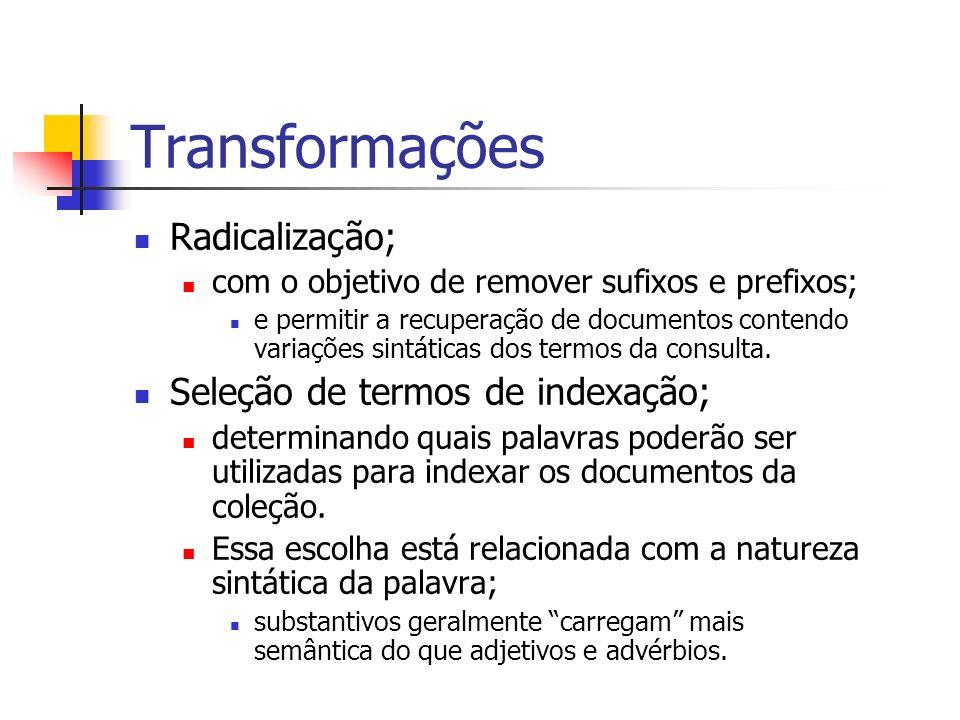 Transformações Radicalização; Seleção de termos de indexação;