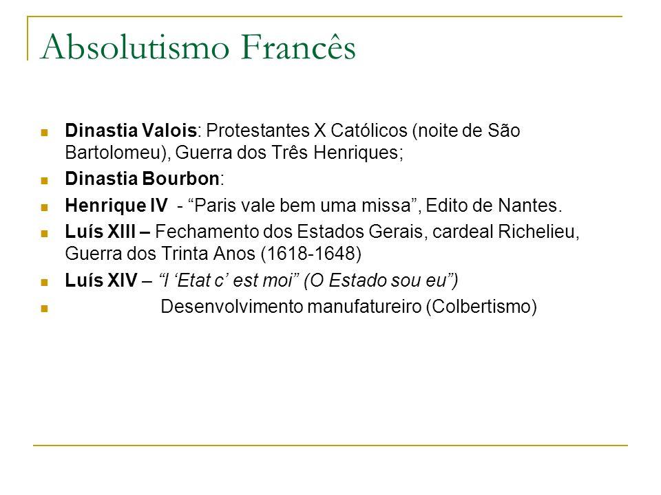 Absolutismo Francês Dinastia Valois: Protestantes X Católicos (noite de São Bartolomeu), Guerra dos Três Henriques;