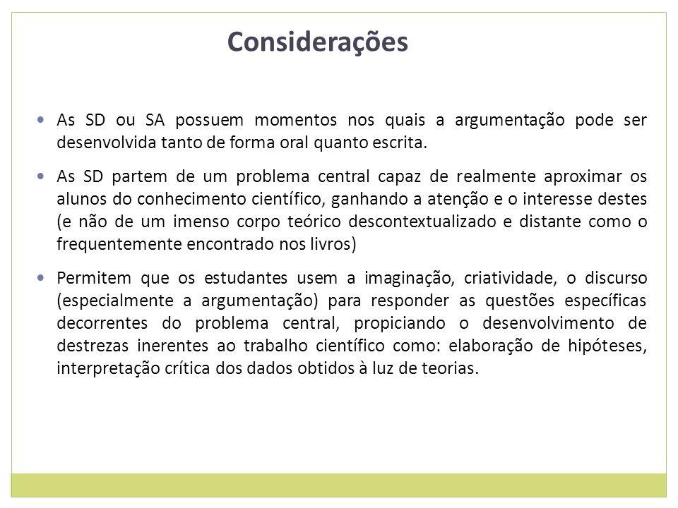 Considerações As SD ou SA possuem momentos nos quais a argumentação pode ser desenvolvida tanto de forma oral quanto escrita.