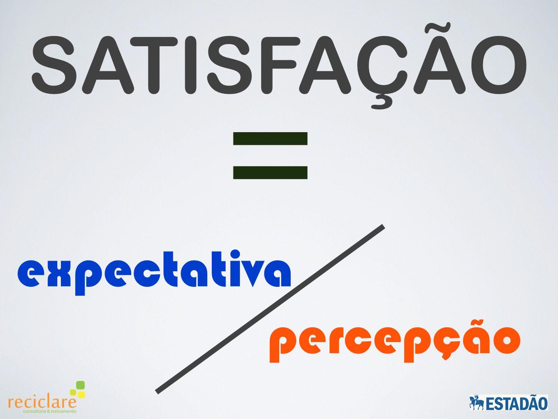 SATISFAÇÃO = expectativa percepção