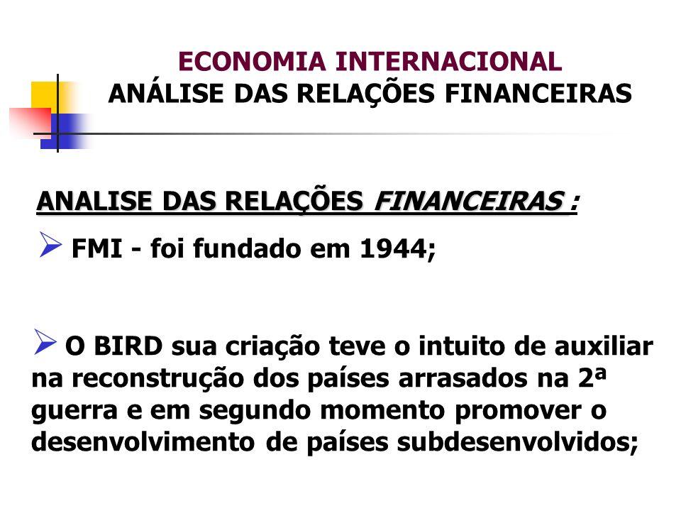 ECONOMIA INTERNACIONAL ANÁLISE DAS RELAÇÕES FINANCEIRAS