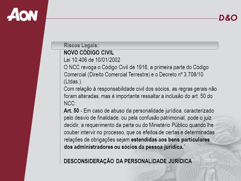 D&O Riscos Legais: NOVO CÓDIGO CIVIL Lei 10.406 de 10/01/2002