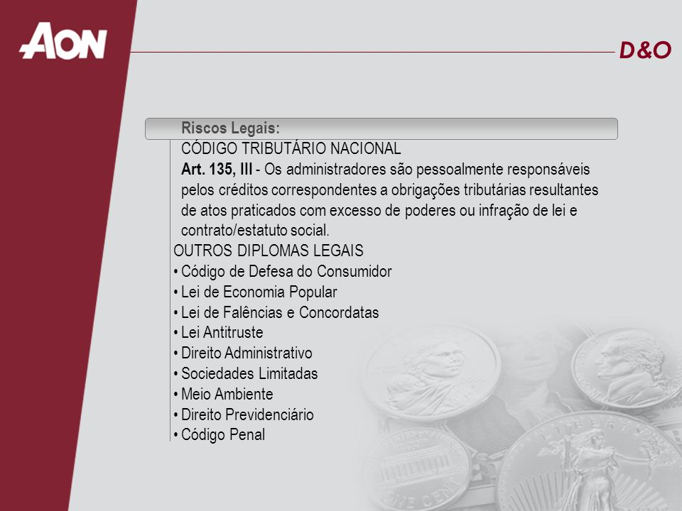 D&O Riscos Legais: CÓDIGO TRIBUTÁRIO NACIONAL