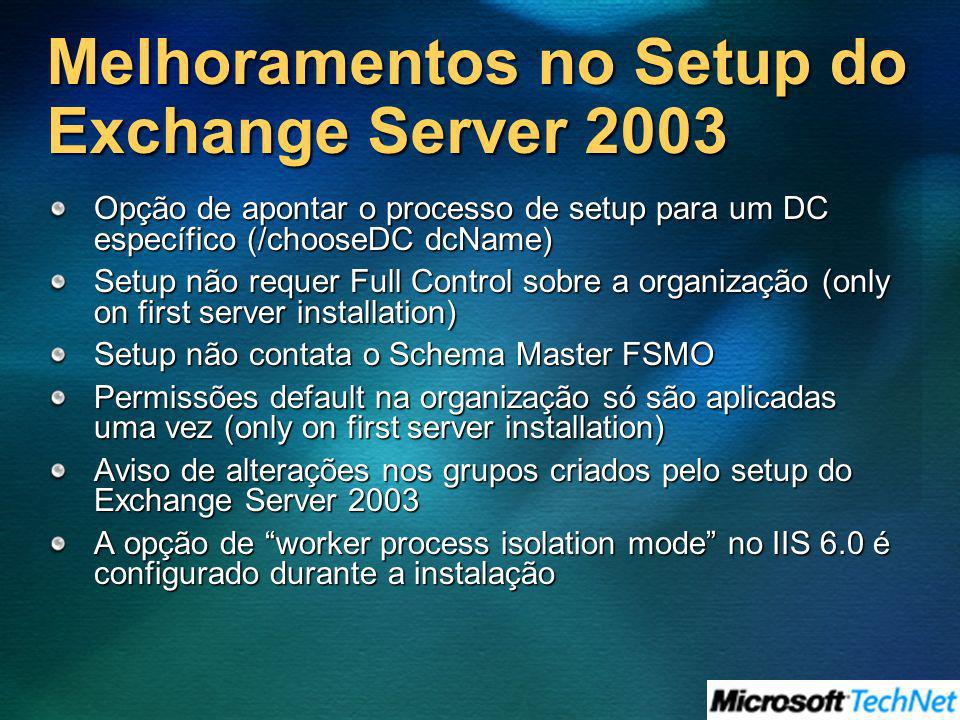 Melhoramentos no Setup do Exchange Server 2003