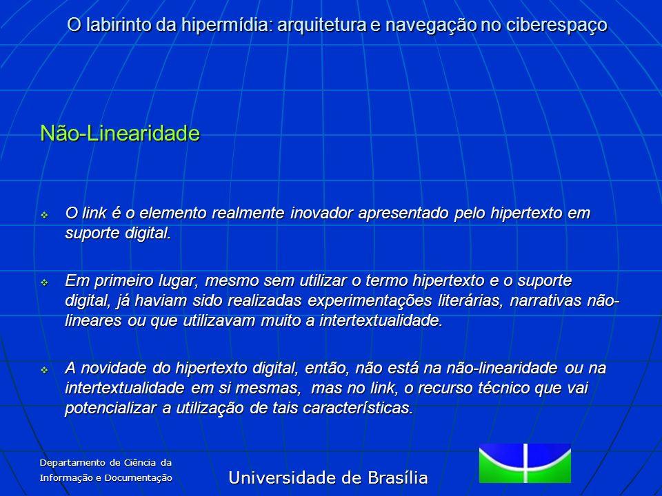 Não-Linearidade O link é o elemento realmente inovador apresentado pelo hipertexto em suporte digital.
