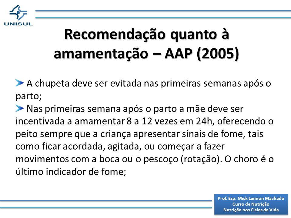 Recomendação quanto à amamentação – AAP (2005)