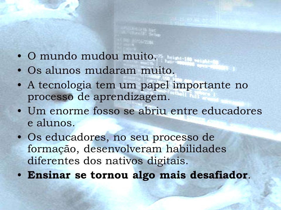 O mundo mudou muito.Os alunos mudaram muito. A tecnologia tem um papel importante no processo de aprendizagem.