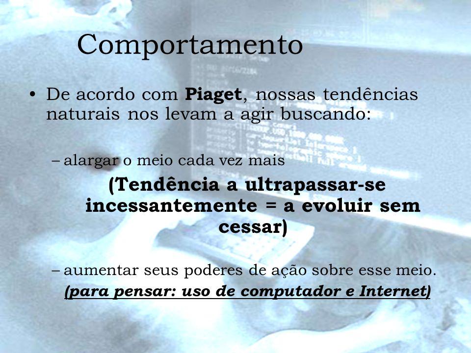 ComportamentoDe acordo com Piaget, nossas tendências naturais nos levam a agir buscando: alargar o meio cada vez mais.