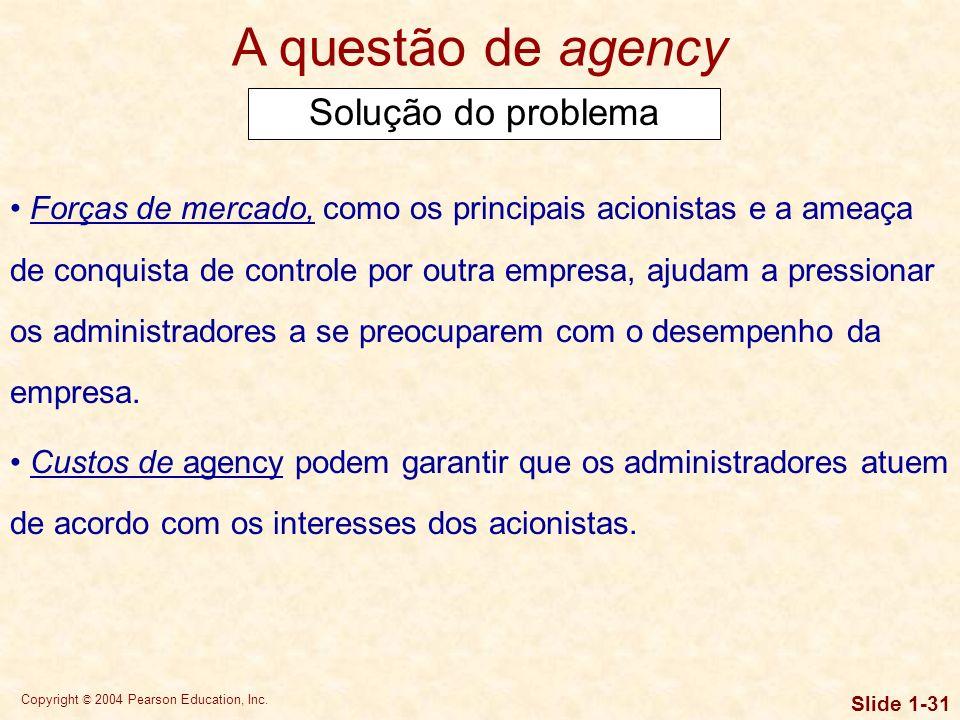 A questão de agency Solução do problema