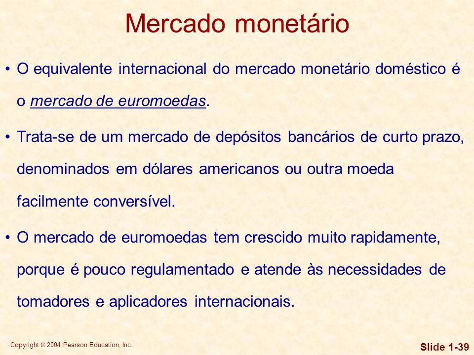 Mercado monetário O equivalente internacional do mercado monetário doméstico é o mercado de euromoedas.