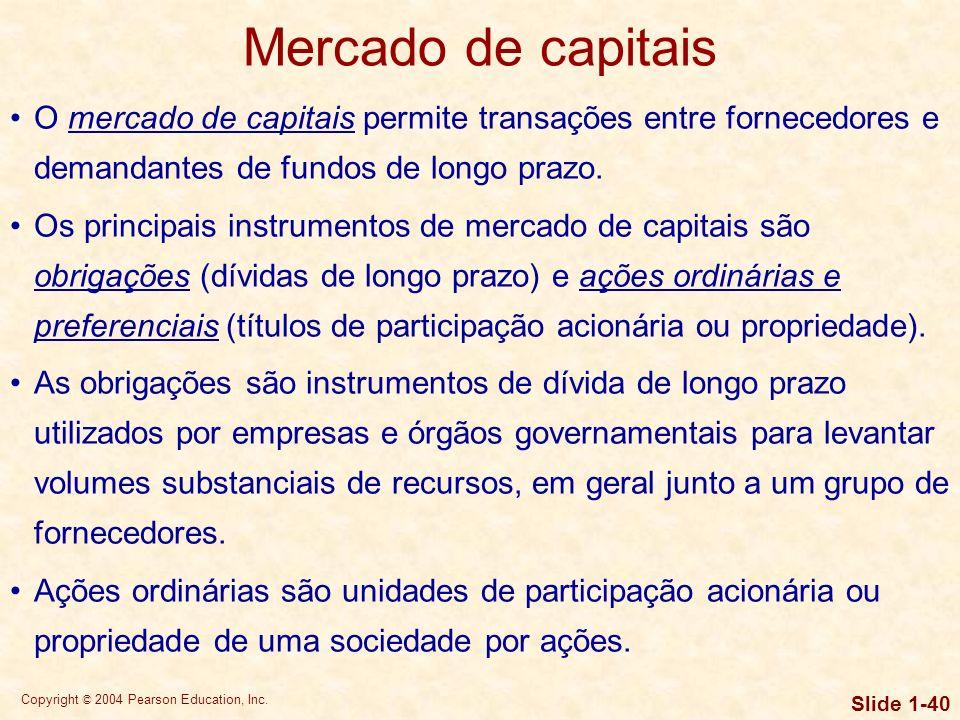 Mercado de capitais O mercado de capitais permite transações entre fornecedores e demandantes de fundos de longo prazo.