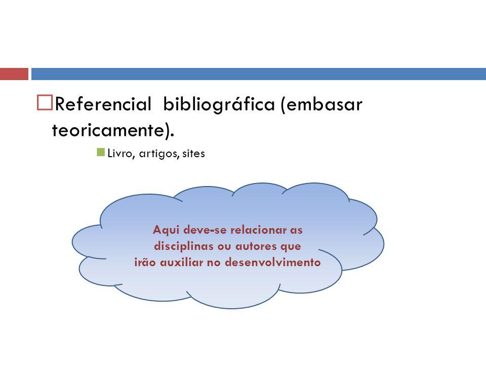 Referencial bibliográfica (embasar teoricamente).