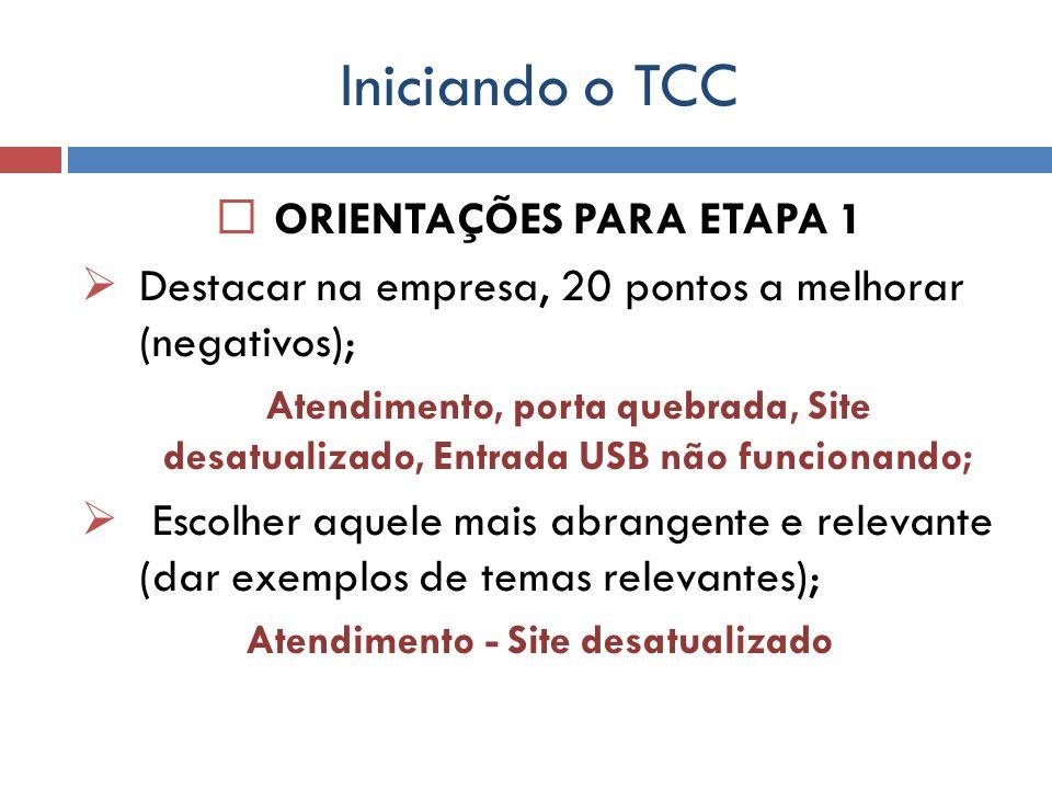 ORIENTAÇÕES PARA ETAPA 1 Atendimento - Site desatualizado