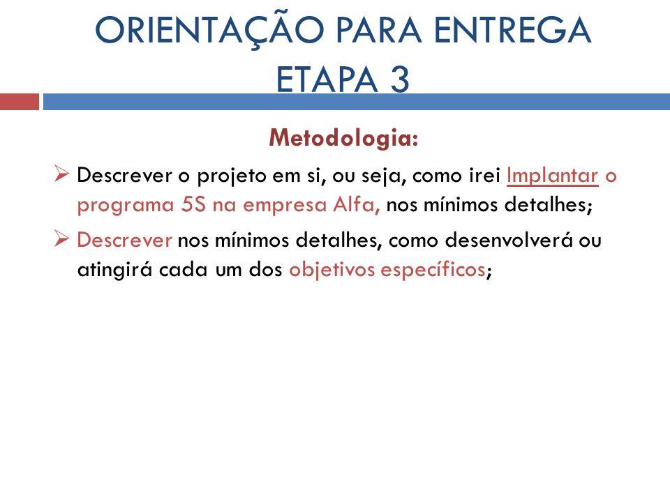 ORIENTAÇÃO PARA ENTREGA ETAPA 3