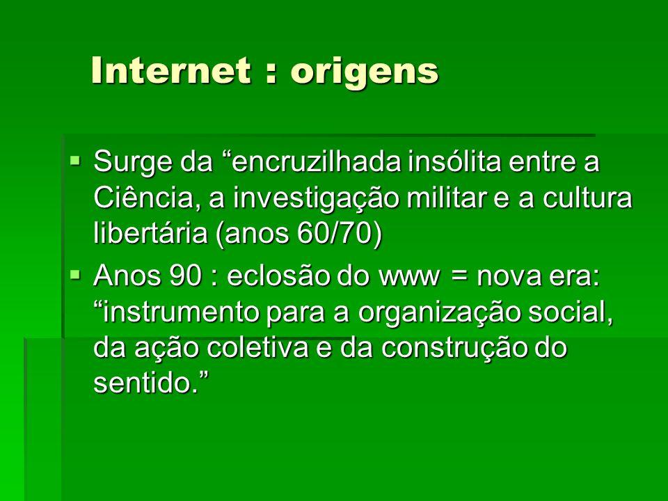 Internet : origensSurge da encruzilhada insólita entre a Ciência, a investigação militar e a cultura libertária (anos 60/70)